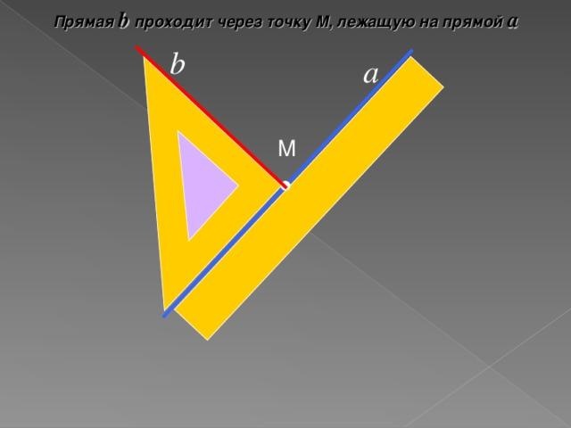 Прямая b проходит через точку М, лежащую на прямой а b а М