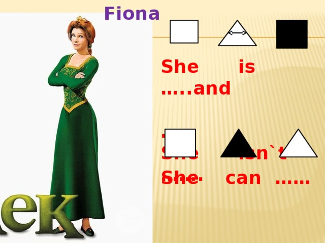 Fiona  She is …..and … .. She isn`t …….  She can ……
