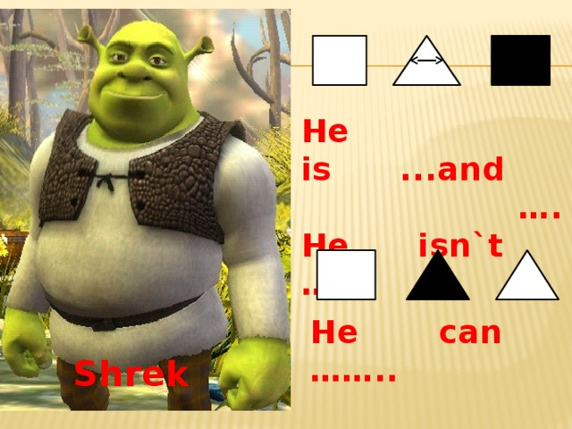 He can …….. He is ...and … . He isn`t …….  Shrek