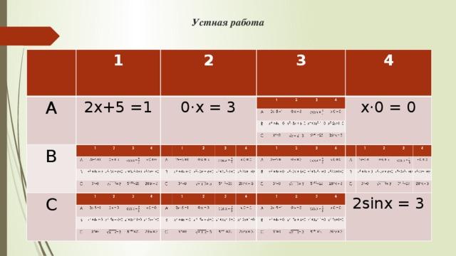 Устная работа 1 А А 1 2 В 2х+5 =1 2х+5 =1 В 2 С 0·х = 3 3 С  +4x = 0 0·х = 3 3 - 5x + 6=0 =0 4 cos x = 4 = 3 +-1=0 x·0 = 0 x·0 = 0 -2x+1=0 =25 2sinx = 3 2sinx = 3