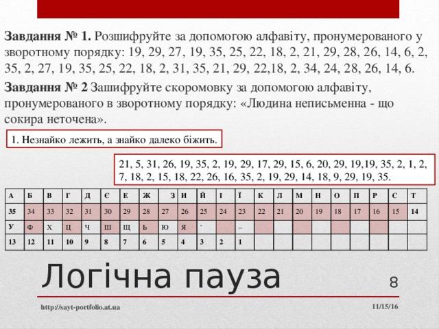 Завдання № 1. Розшифруйте за допомогою алфавіту, пронумерованого у зворотному порядку: 19, 29, 27, 19, 35, 25, 22, 18, 2, 21, 29, 28, 26, 14, 6, 2, 35, 2, 27, 19, 35, 25, 22, 18, 2, 31, 35, 21, 29, 22,18, 2, 34, 24, 28, 26, 14, 6. Завдання № 2 Зашифруйте скоромовку за допомогою алфавіту, пронумерованого в зворотному порядку: «Людина неписьменна - що сокира неточена». 1. Незнайко лежить, а знайко далеко біжить. 21, 5, 31, 26, 19, 35, 2, 19, 29, 17, 29, 15, 6, 20, 29, 19,19, 35, 2, 1, 2, 7, 18, 2, 15, 18, 22, 26, 16, 35, 2, 19, 29, 14, 18, 9, 29, 19, 35. А 35 Б У В 34 33 13 Г Ф 32 Д 12 Х 31 Ц 11 Є Е 10 Ч 30 Ж 9 29 Ш 28 З 8 Щ 27 И 7 Ь Ю 6 26 Й 25 І 5 Я 24 Ї 4 ' 23  3 К 22 2 – Л 21 М 1  20 Н   19  О  П  18  Р  17  16 С    15  Т 14      Логічна пауза  http://sayt-portfolio.at.ua 11/15/16