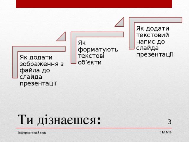 Як додати текстовий напис до слайда презентації Як форматують текстові об'єкти Як додати зображення з файла до слайда презентації Ти  дізнаєшся :  11/15/16 Інформатика 5 клас