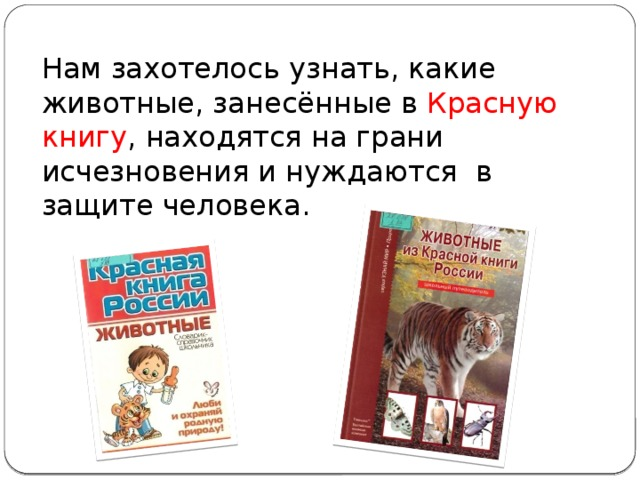 Нам захотелось узнать, какие животные, занесённые в Красную книгу , находятся на грани исчезновения и нуждаются в защите человека.