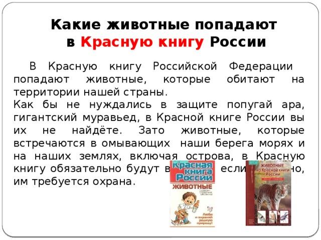 Какие животные попадают  в Красную книгу России  В Красную книгу Российской Федерации попадают животные, которые обитают на территории нашей страны. Как бы не нуждались в защите попугай ара, гигантский муравьед, в Красной книге России вы их не найдёте. Зато животные, которые встречаются в омывающих наши берега морях и на наших землях, включая острова, в Красную книгу обязательно будут внесены, если, конечно, им требуется охрана.