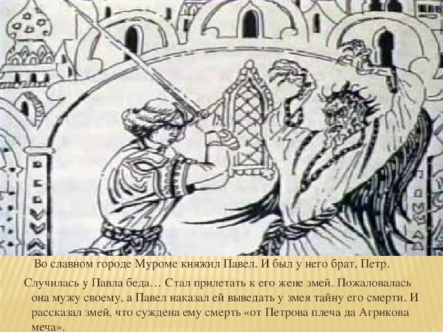 Во славном городе Муроме княжил Павел. И был у него брат, Петр.  Случилась у Павла беда… Стал прилетать к его жене змей. Пожаловалась она мужу своему, а Павел наказал ей выведать у змея тайну его смерти. И рассказал змей, что суждена ему смерть «от Петрова плеча да Агрикова меча».