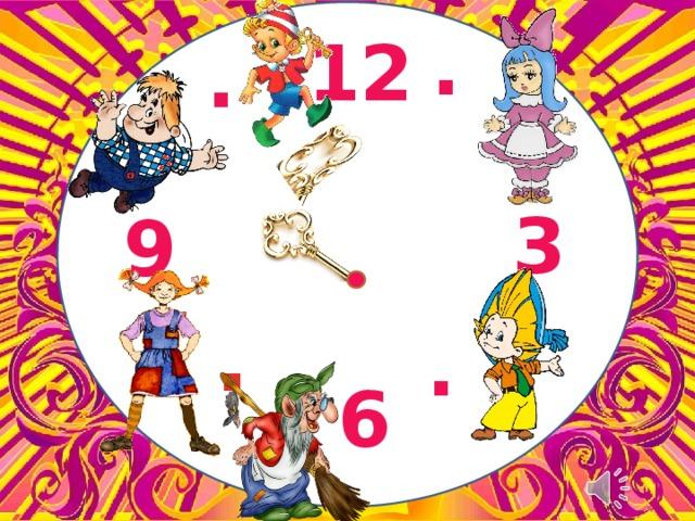 . 12 . . . 3 9 . . . . (Раздается бой часов) Библиотекарь: Слышите? Бьют часы. Они возвещают о начале праздника. Часы эти волшебные, сказочные. Они помогут нам встретиться с любимыми героями. 6