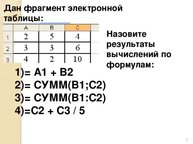 Дан фрагмент электронной таблицы: Назовите результаты вычислений по формулам: = А1 + В2 = СУММ(В1;С2) = СУММ(В1:С2) =С2 + С3 / 5