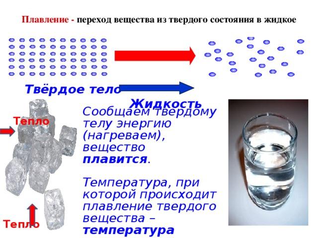 Плавление - переход вещества из твердого состояния в жидкое   Твёрдое тело Жидкость Сообщаем твердому телу энергию (нагреваем), вещество плавится .  Температура, при которой происходит плавление твердого вещества – температура плавления . Тепло  Тепло