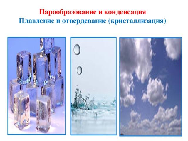 Парообразование и конденсация Плавление и отвердевание (кристаллизация)