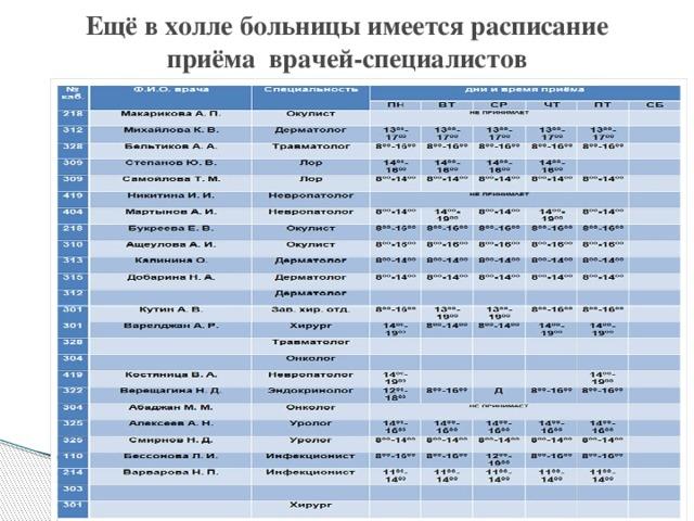Ещё в холле больницы имеется расписание приёма врачей-специалистов