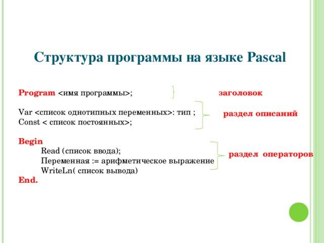 Структура программы на языке Pascal Program ;  заголовок Var  : тип ; Const ; Begin       Read ( список ввода) ;  Переменная := арифметическое выражение  WriteLn ( список вывода) End. раздел описаний раздел операторов