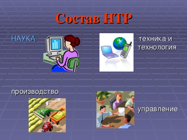 Состав НТР НАУКА производство  техника и технология  управление