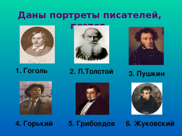 Даны портреты писателей, поэтов. 2. Л.Толстой  1. Гоголь 3. Пушкин 4. Горький 5. Грибоедов 6. Жуковский