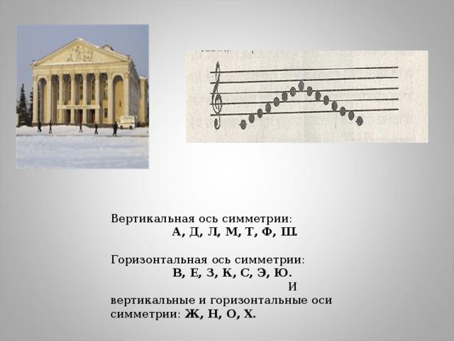Вертикальная ось симметрии: А, Д, Л, М, Т, Ф, Ш. Горизонтальная ось симметрии: В, Е, З, К, С, Э, Ю. И вертикальные и горизонтальные оси симметрии: Ж, Н, О, Х.