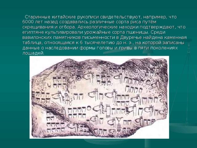 Старинные китайские рукописи свидетельствуют, например, что 6000 лет назад создавались различные сорта риса путём скрещивания и отбора. Археологические находки подтверждают, что египтяне культивировали урожайные сорта пшеницы. Среди вавилонских памятников письменности в Двуречье найдена каменная таблица, относящаяся к 6 тысячелетию до н. э., на которой записаны данные о наследовании формы головы и гривы в пяти поколениях лошадей.