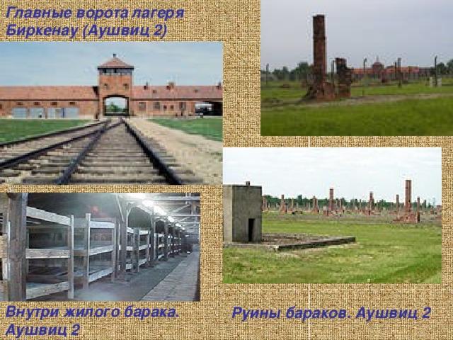 Главные ворота лагеря Биркенау (Аушвиц 2) Внутри жилого барака. Аушвиц 2   Руины бараков. Аушвиц 2
