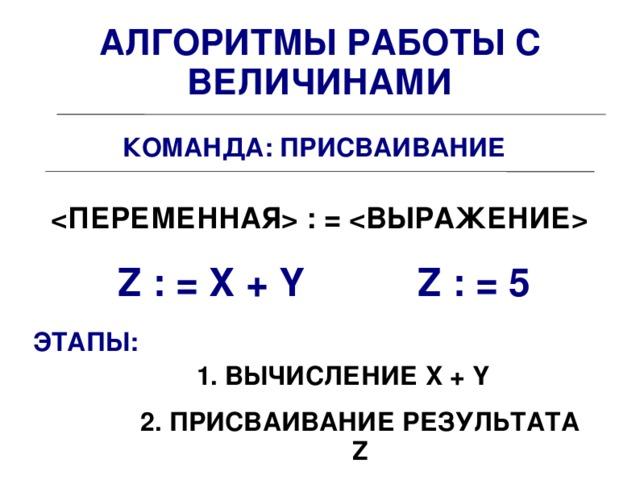 АЛГОРИТМЫ РАБОТЫ С ВЕЛИЧИНАМИ КОМАНДА: ПРИСВАИВАНИЕ  : =  Z : = X + Y Z : = 5 ЭТАПЫ: 1. ВЫЧИСЛЕНИЕ X + Y 2. ПРИСВАИВАНИЕ РЕЗУЛЬТАТА Z