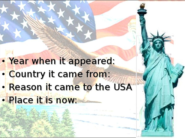 Year when it appeared: Country it came from: Reason it came to the USA Place it is now: