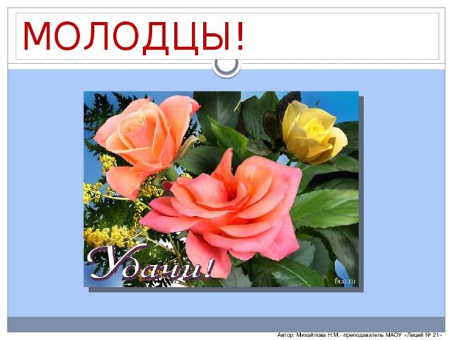 МОЛОДЦЫ! Автор: Михайлова Н.М.- преподаватель МАОУ «Лицей № 21»