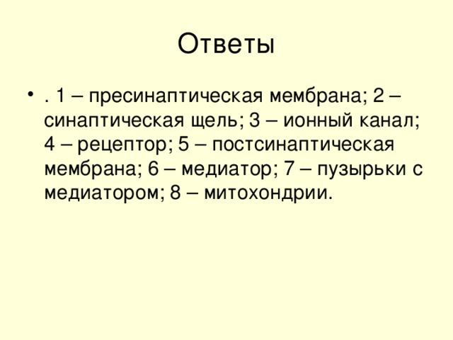 . 1 – пресинаптическая мембрана; 2 – синаптическая щель; 3 – ионный канал; 4 – рецептор; 5 – постсинаптическая мембрана; 6 – медиатор; 7 – пузырьки с медиатором; 8 – митохондрии.
