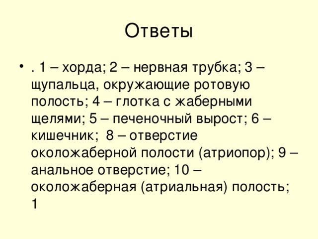 . 1 – хорда; 2 – нервная трубка; 3 – щупальца, окружающие ротовую полость; 4 – глотка с жаберными щелями; 5 – печеночный вырост; 6 – кишечник; 8 – отверстие околожаберной полости (атриопор); 9 – анальное отверстие; 10 – околожаберная (атриальная) полость; 1