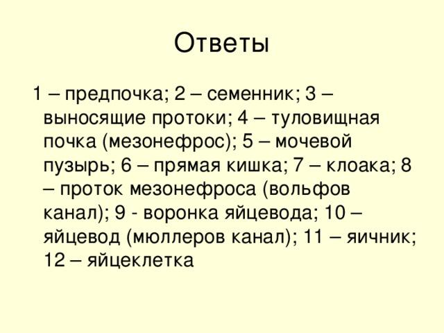 1 – предпочка; 2 – семенник; 3 – выносящие протоки; 4 – туловищная почка (мезонефрос); 5 – мочевой пузырь; 6 – прямая кишка; 7 – клоака; 8 – проток мезонефроса (вольфов канал); 9 - воронка яйцевода; 10 – яйцевод (мюллеров канал); 11 – яичник; 12 – яйцеклетка