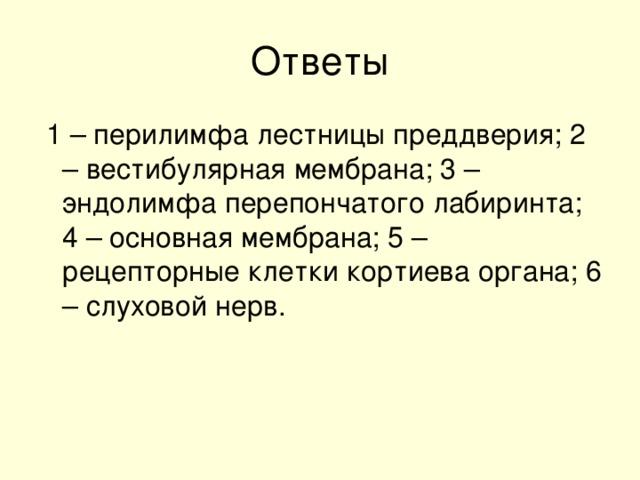 1 – перилимфа лестницы преддверия; 2 – вестибулярная мембрана; 3 – эндолимфа перепончатого лабиринта; 4 – основная мембрана; 5 – рецепторные клетки кортиева органа; 6 – слуховой нерв.