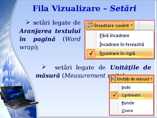 Fila Vizualizare – Setări  setări legate de Aranjarea  textului  în  pagină ( Word wrap );  setări legate de Unităţile  de  măsură ( Measurement units ). Modificarea setărilor de încadrare a cuvintelorÎn fila Vizualizare În grupul Setări , faceţi clic pe Încadrare cuvânt , apoi faceţi clic pe setarea pe care o doriţi. Modificarea unităţii de măsură a riglei. În fila Vizualizare , în grupul Setări , faceţi clic pe Unităţi de măsură , apoi faceţi clic pe unităţile dorite.