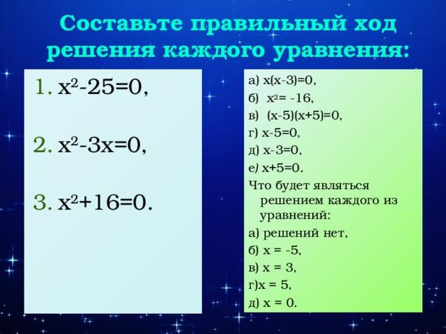 Составьте правильный ход решения каждого уравнения: x 2 -25=0, x 2 -3x=0, x 2 +16=0. а) x(x-3)=0, б) x 2 = -16, в) (x-5)(x+5)=0, г) x-5=0, д) x-3=0, е ) x+5=0 . Что будет являться решением каждого из уравнений: а) решений нет, б) x = -5, в) x = 3, г)x = 5, д) x = 0.