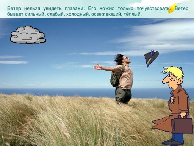 Ветер нельзя увидеть глазами. Его можно только почувствовать.  Ветер бывает сильный, слабый, холодный, освежающий, тёплый.