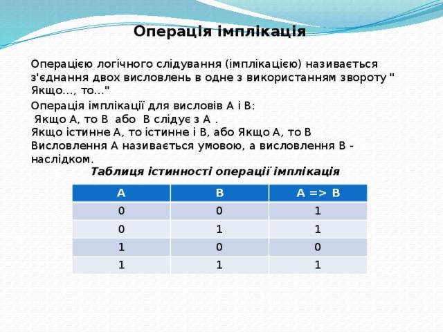 Операція імплікація Операцією логічного слідування (iмплікацією) називається з'єднання двох висловлень в одне з використанням звороту