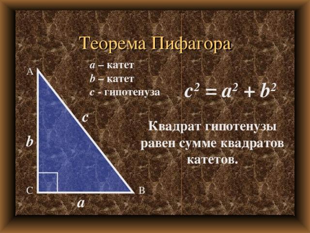 Теорема Пифагора a – катет b – катет c - гипотенуза А c 2 = a 2 + b 2 c Квадрат гипотенузы равен сумме квадратов катетов. b В С a