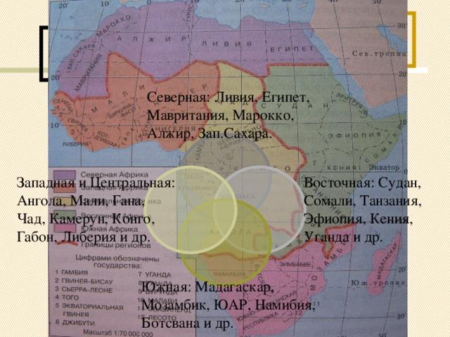 По природным условиям,  составу населения Африку можно разделить на 4 части: