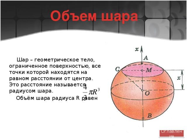 Объем шара Шар – геометрическое тело, ограниченное поверхностью, все точки которой находятся на равном расстоянии от центра. Это расстояние называется радиусом шара.  Объём шара радиуса R равен Оглавление