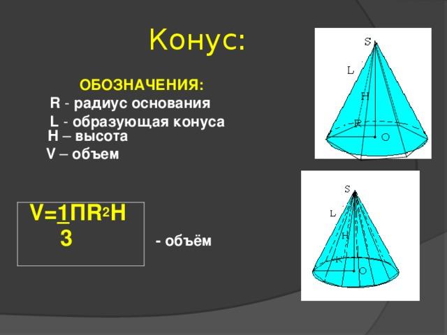 Конус:   ОБОЗНАЧЕНИЯ:  R - радиус основания  L - образующая конуса  H – высота  V – объем   V= 1 П R 2 Н  3   - объём