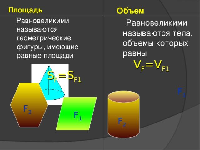 Площадь  Равновеликими называются геометрические фигуры, имеющие равные площади  Объем  Равновеликими называются тела, объемы которых равны V F =V F1 S F =S F1 F 1 F 2 F 1 F 2
