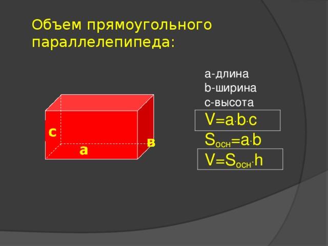 Объем прямоугольного параллелепипеда:    а-длина b -ширина с-высота V=a . b . c S осн = a . b V=S осн . h