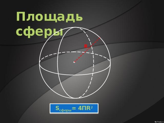 Площадь сферы R S сферы = 4ПR 2