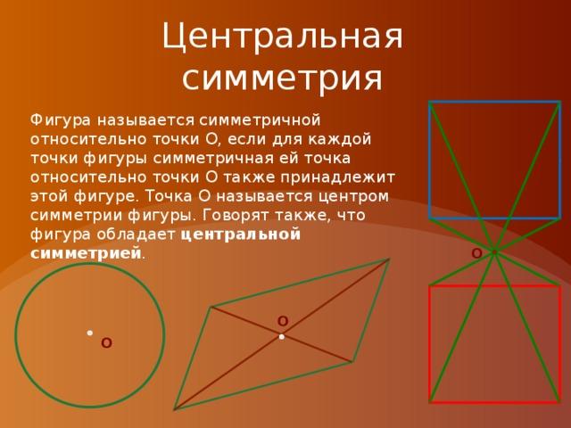 Центральная симметрия O Фигура называется симметричной относительно точки О, если для каждой точки фигуры симметричная ей точка относительно точки О также принадлежит этой фигуре. Точка О называется центром симметрии фигуры. Говорят также, что фигура обладает центральной симметрией . O O