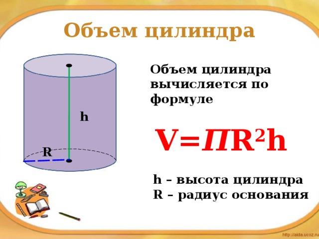 Объем цилиндра Объем цилиндра вычисляется по формуле h V= П R 2 h R h – высота цилиндра R – радиус основания