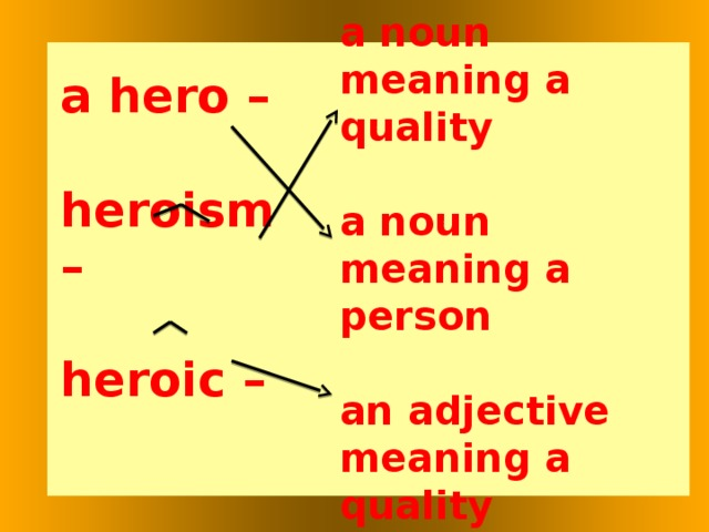 a noun meaning a quality  a noun meaning a person  an adjective meaning a quality   a hero –  heroism –  heroic –