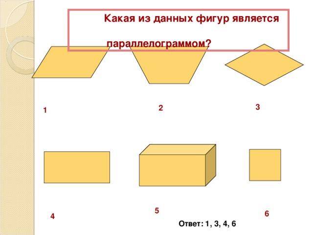 Какая из данных фигур является  параллелограммом? 3 2 1 5 6 4 Ответ: 1, 3, 4, 6