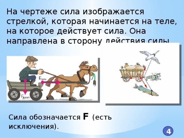 На чертеже сила изображается стрелкой, которая начинается на теле, на которое действует сила. Она направлена в сторону действия силы. Сила обозначается F (есть исключения). 4