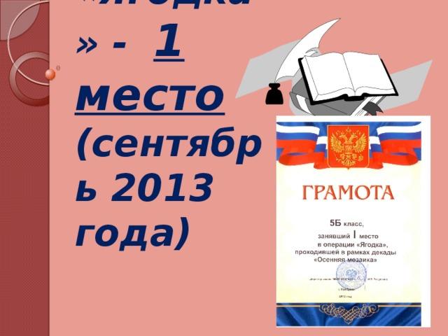 Операция «Ягодка» - 1 место  (сентябрь 2013 года)