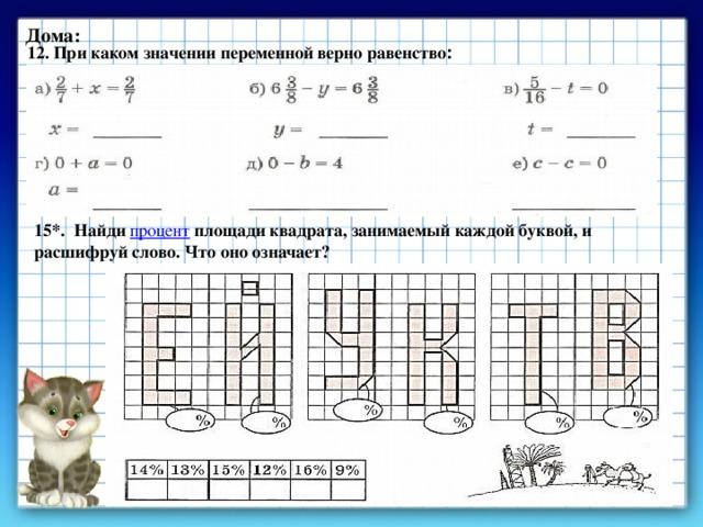 Дома: 12. При каком значении переменной верно равенство : 15*. Найди процент площади квадрата, занимаемый каждой буквой, и расшифруй слово. Что оно означает?