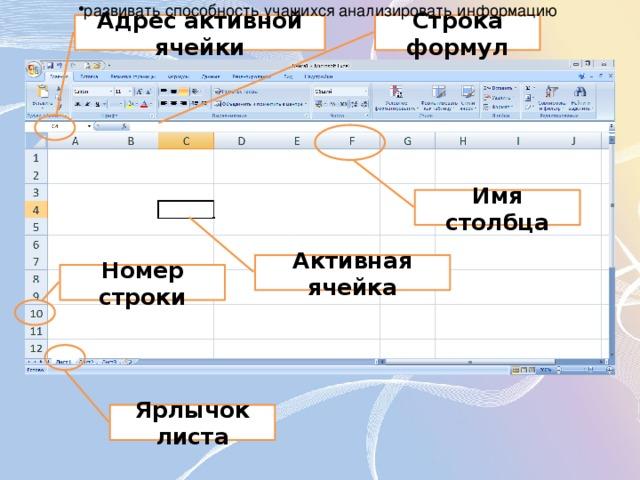 развивать способность учащихся анализировать информацию
