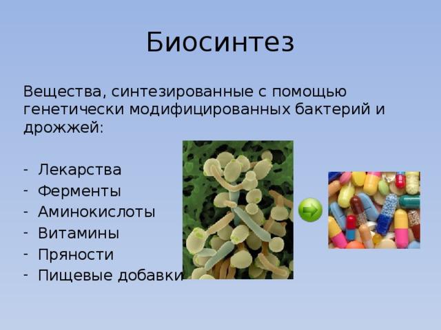 Биосинтез Вещества, синтезированные с помощью генетически модифицированных бактерий и дрожжей: