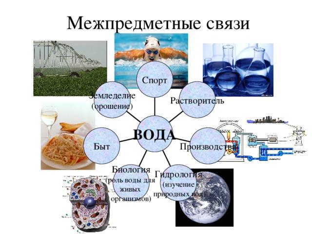 Межпредметные связи Спорт Земледелие (орошение) Растворитель ВОДА Быт Производства Биология (роль воды для живых организмов) Гидрология (изучение  природных вод)