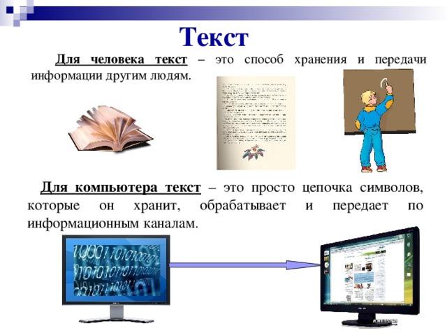 Текст  Для человека текст – это способ хранения и передачи информации другим людям.  Для компьютера текст – это просто цепочка символов, которые он хранит, обрабатывает и передает по информационным каналам .