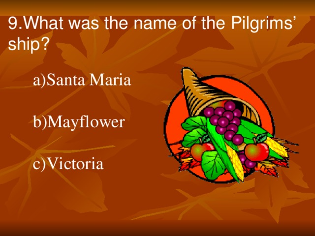 9.What was the name of the Pilgrims' ship?